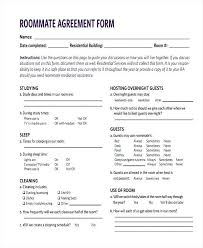Roommate Agreement Form Samples Free Sample Example Format ...
