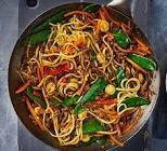 asian stir fry pork and noodles