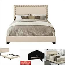 Details about Queen Bed Frame And Headboard Low-profile Footboard Cream Upholstered Brass Bed