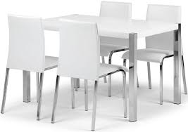 white dining room chair. Glamorous Rectangle White Gloss Solid Wood Dining Table Which Has Wooden Leg With Silver Melamine Finish That Resists Scratches Plus Four Leather Room Chair O
