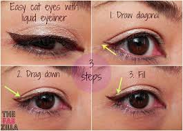 how to easy cat eyes using liquid eyeliner 3 steps promise