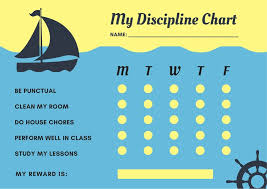 Boat Chart Blue And Yellow Boat Wheel Discipline Reward Chart