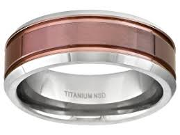 8mm men s anium with ion plated center fort fit band ring