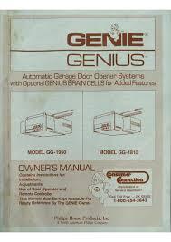genie garage door opener manualOwners Manual  Genie GG1950  GG1810 Garage Door Openers