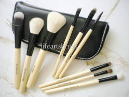 makeup brush set hair goat hair deluxe brush for wet dry makeup zip purse bag luxury