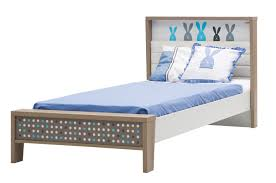 Single Bed Headboard Newjoy Blue Bunny Childrens Single 3ft Bed Frame With Padded