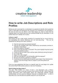 Samples Of Job Descriptions How To Write Job Descriptions And Role Profiles Creative