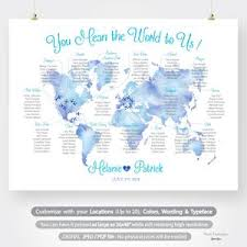Wedding Seating Chart Plan Printable Custom Watercolor World Map