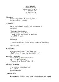 Sample Resume For A Highschool Student With No Experience Sample