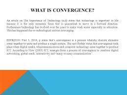 What Is Convergence Edtk2030 Information And Communication Technology In Education