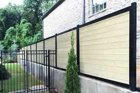 horizontal wood fence with metal posts. Exellent Horizontal Horizontal Wood Fence With Metal Posts Intended M