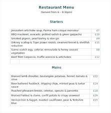 Word Restaurant Menu Templates Restaurant Menu Templates Word Restaurant Menu Template Word Free