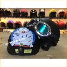 Mũ nửa đầu Doremon đen - Nón bảo hiểm đạt chuẩn, cao cấp, dày dặn - Nón cho  bé Thương hiệu No Brand