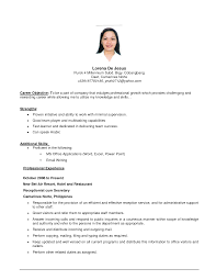 Resume Example Simple Basic Resume Objective Basic Resume