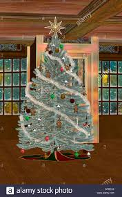 3D digital render of a beautiful Christmas tree in the middle of a cozy  room on the background of windows with light and snow