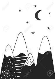 手描き山星と月北欧風のかわいい手描き下ろし保育園ポスターモノクロのベクター イラストです