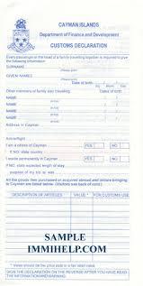Sample Cayman Islands Customs Declaration Form