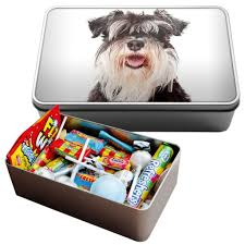 for him or for her this cute schnauzer tin is a great place to keep your secret items such as candy or even money or it can even be used as a
