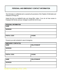 Emergency Contact Form Template School Trejos Co