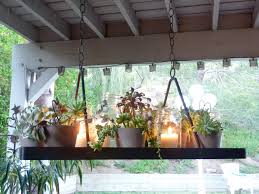 hanging succulent and candle chandelier