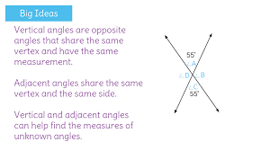 Identify vertical and adjacent angles and use their measurements ...