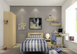 modern bedroom for boys. Small Grey Nuance Modern Boy Bedroom Ideas With Stripped Blanket On The Wooden Bed Frame For Boys O