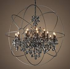 restoration hardware foucault s orb smoke crystal chandelier 44 in with crystals decor 4