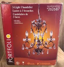 16 portfolio lighting 3 light chandelier rust finish fixture 262687 crystal new