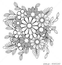 Floral Coloring Pageのイラスト素材 45931287 Pixta
