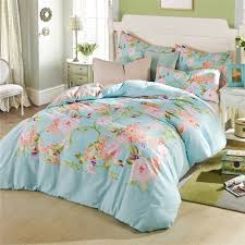 flower garden theme girl bedroom with pale turquoise pink cotton bedspreads and fl printed twin