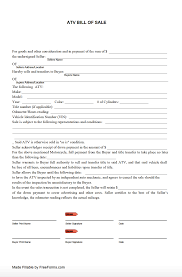 how to make bill of sale free all terrain vehicle atv bill of sale form pdf