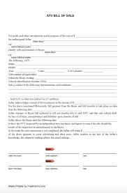 Free Forms Bill Of Sale Free All Terrain Vehicle Atv Bill Of Sale Form Pdf