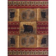tayse rugs nature red 8 ft x 10 ft lodge area rug