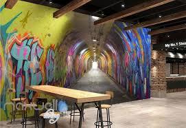 office graffiti wall. 3D Graffiti Tunnel Buniess Office Wall Murals Wallpaper Art Decals Prints IDCWP-TY- A