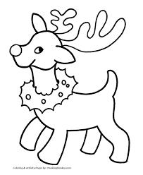 Santa S Reindeer Coloring Pages Reindeer With Christmas Wreath