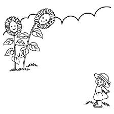 ヒマワリと女の子白黒夏枠ふきだし無料イラスト素材