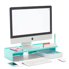 coolest office supplies. Awesome Coolest Office Supplies Poppin Aqua Monitor Riser | Modern Desk Accessories Cool R