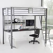 metal bunk bed with desk underneath. Perfect Grey Metal Loft Bed With Desk Underneath And Shelf Plus Stairs  Bunk