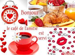 Bonjour, le café de l'amitie est servi, bisous | Bon reveil, Bonjour gif, Bonjour