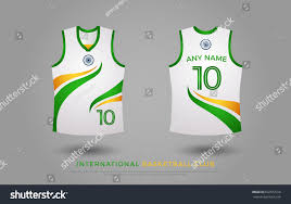Basketball Jersey Design White Green Basketball Tshirt Design Uniform Set Kit Stock Vector