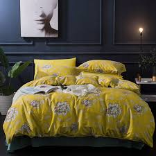 yellow flowers duvet cover sets 100 egyptian cotton blue solid color bed sheets pillowcase queen