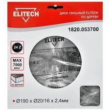 <b>Диск</b> пильный <b>ELITECH 1820.053700</b> Ø190x20/16x1.8мм, 24 зуб