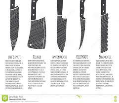 Vector Illustration Types Kitchen Knives Meat Stock Vector Types Of Kitchen Knives