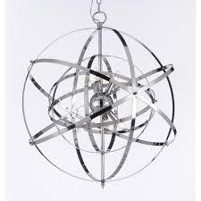 foucault x27 s orb chrome chandelier light fixture