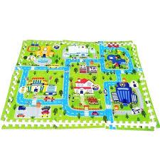 road play mat x 6 soft foam puzzle baby town carpet pad interlocking floor for kids