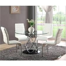 glass table with 4 chairs top glass dining table with 4 chairs regarding round white intended