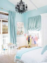 Blue girls bedrooms White Light Blue Bedroom With Chandelier And Ruffle Curtains Better Homes And Gardens Kids Bedroom Ideas For Girls
