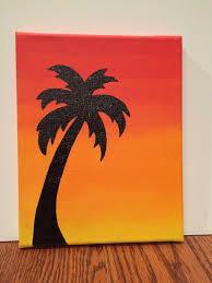 palm tree sunset silhouette by customcanvasbysarah on