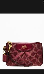 Coach Madison Dot Small Wristlet (Dark Red or sliver), Women s ...