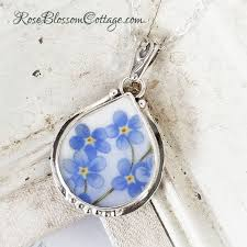 forget me not plump teardrop broken china jewelry sterling pendant necklace
